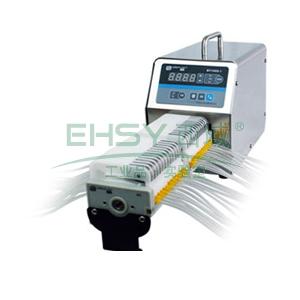 基本调速型蠕动泵,BT100S-1泵头DG6-24(6滚轮),单通道流量(毫升/分钟)0.00016~49,通道数量24