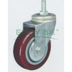 3寸聚氨酯中型脚轮,丝杆活动M12,载重(kg):105,轮宽(mm):30,全高(mm):111