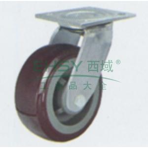 4寸塑芯聚氨酯重型脚轮,平底万向,载重(kg):250,轮宽(mm):45,全高(mm):145