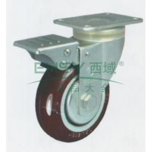申牌 3.5寸尼龙中型脚轮,平底刹车 载重(kg):115 轮宽(mm):32 全高(mm):120,3.5寸尼龙轮刹车轮