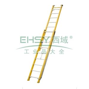 玻璃钢绝缘单面伸缩梯,全长:10.0m收长:6.04m,自重:43.8kg