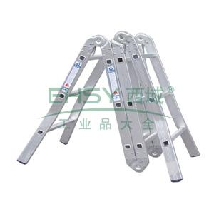 铝合金六关节折梯,伸长:3.8m,折长:1.05m,自重:12.3kg