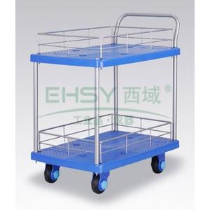 全静音双层单扶手带护栏手推车,轮子类型:静音轮,承重(kg):150KG
