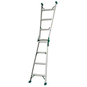 两用梯,(人字梯兼用直梯)(双侧宽幅踏步60mm)梯全长:2.34m 缩长:1.10m 重量:4.7kg