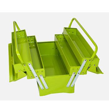 便携式钢制工具箱,绿色/红色随机(双把手外翻式)