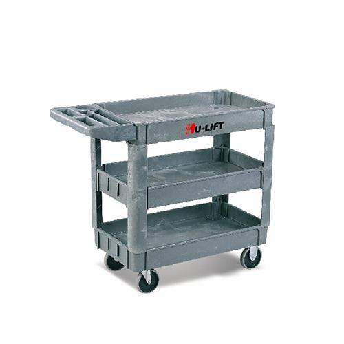 虎力 三层多用途塑料工具车,250kg,950*650mm