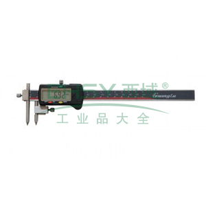 广陆 中心距数显卡尺,10-500mm(锥测头)