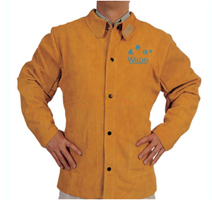 威特仕 焊接防護服,44-2130-XL,金黃色皮上身焊服