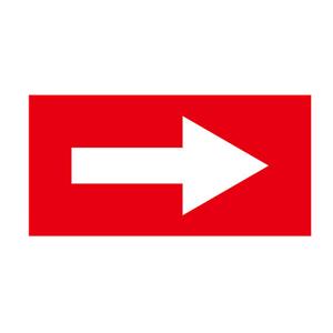 流向箭头-自粘性乙烯材料,表面覆保护膜,红底白箭头,100×200mm,15427