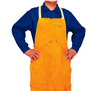 威特仕 焊接围裙,44-2136,金黄色皮护胸围裙 91cm长