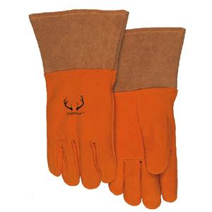 威特仕10-2327驯鹿王金黄色鹿二层皮中袖筒款焊接手套,L