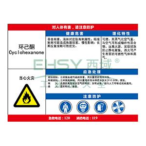 职业病危害告知卡(环己酮)-abs板,600×450mm,14629