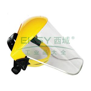 JSP 02-3230 帕洛玛防冲击面罩含头戴式支架(黄),PC标准型透明面屏