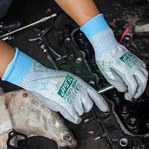 海太尔 0054-8 防割手套,针织手腕,PU涂层,灰色
