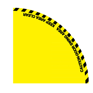 开门半径警示地贴-超强耐磨地贴材料,边长1200mm,14328