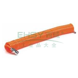 山耐斯PU伸缩管,橙色,Φ6×Φ4×9M,带母公快速接头,CLW-0640-2/9M