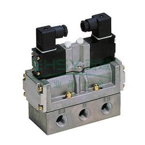 喜开理CKD 电磁阀,2位5通双电控,Rc 1/4,4F420-08-DC24V