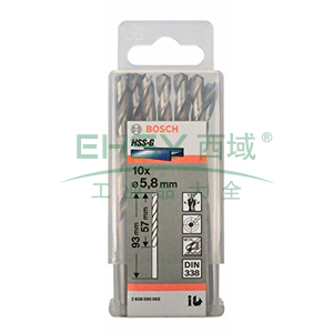 博世麻花钻,直柄全磨高速钢 5.8mm 10根/包,2608595065