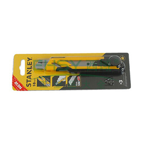 史丹利 自锁双色柄美工刀18mm (3刀片),STHT10266-8-23