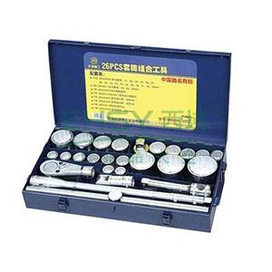 长城精工 套筒组合工具,26件套,铁盒包装,405026