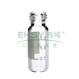 SureStop 9 mm 2 mL宽口螺口样品瓶, 透明带标签,100个/包