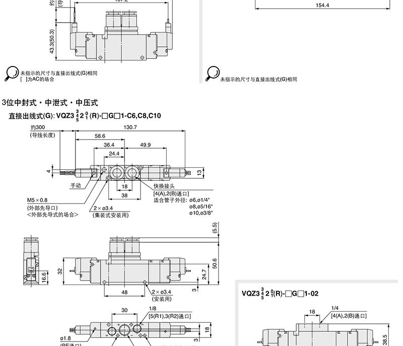 smc电磁阀,两位五通单电控式,l形插座式(300mm),ac220v,vqz2121-4lb1