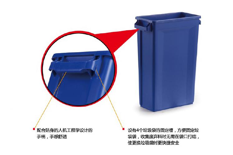 长方形垃圾桶,trust 87l 蓝色