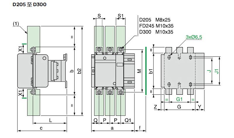 施耐德接触器 lc1d205m7c,205a,220v,接触器
