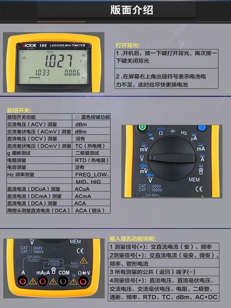 1. 测量功能 2. 交直流电压、交直流电流、欧姆、频率、周期、脉宽、电容 3. 短路蜂鸣测试、二极管测试、dBm、热电偶(TC)、热电阻(RTD) 4. 交流+直流测量(AC+DC)、交流+频率(AC+Hz)测量 5. 最大值、最小值、平均值测量(MAX/MIN/AVG),相对值测量(REL_%) 6. 测量显示55000字,基本精度为0.