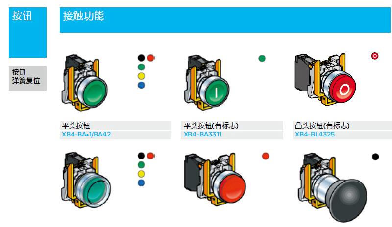 施耐德 红底白o按钮 平头弹簧复位 1nc,xb4ba4322