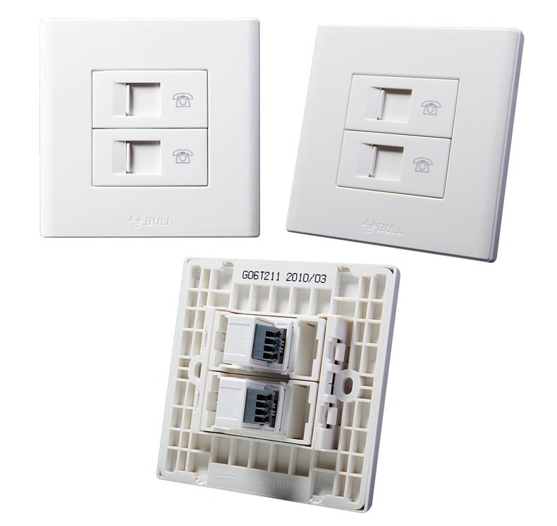 电工 开关插座,接线板 插座 公牛g06系列两位电话插座,g06t211  品牌