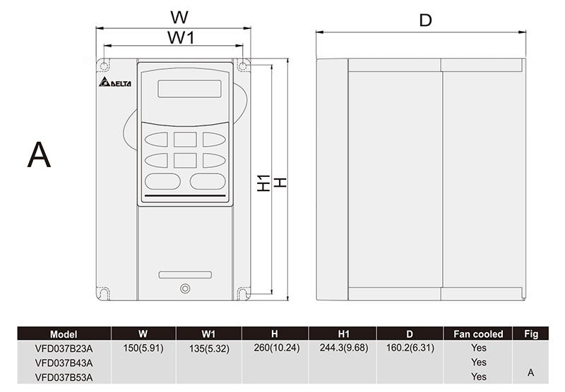 台达/delta vfd037b43a变频器