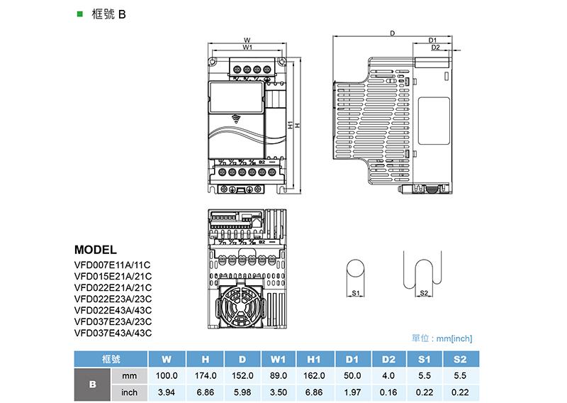 台达/delta vfd037e43a-m变频器