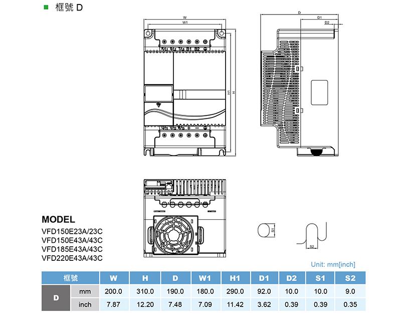台达/delta vfd150e43a-m变频器