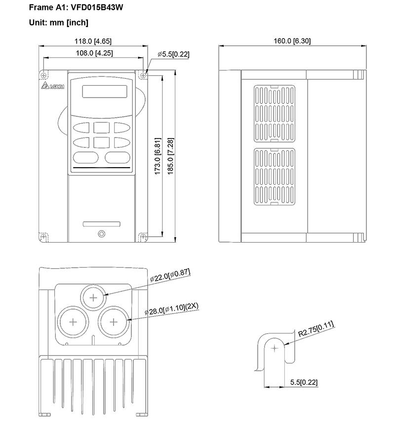 台达/delta vfd015b43w变频器