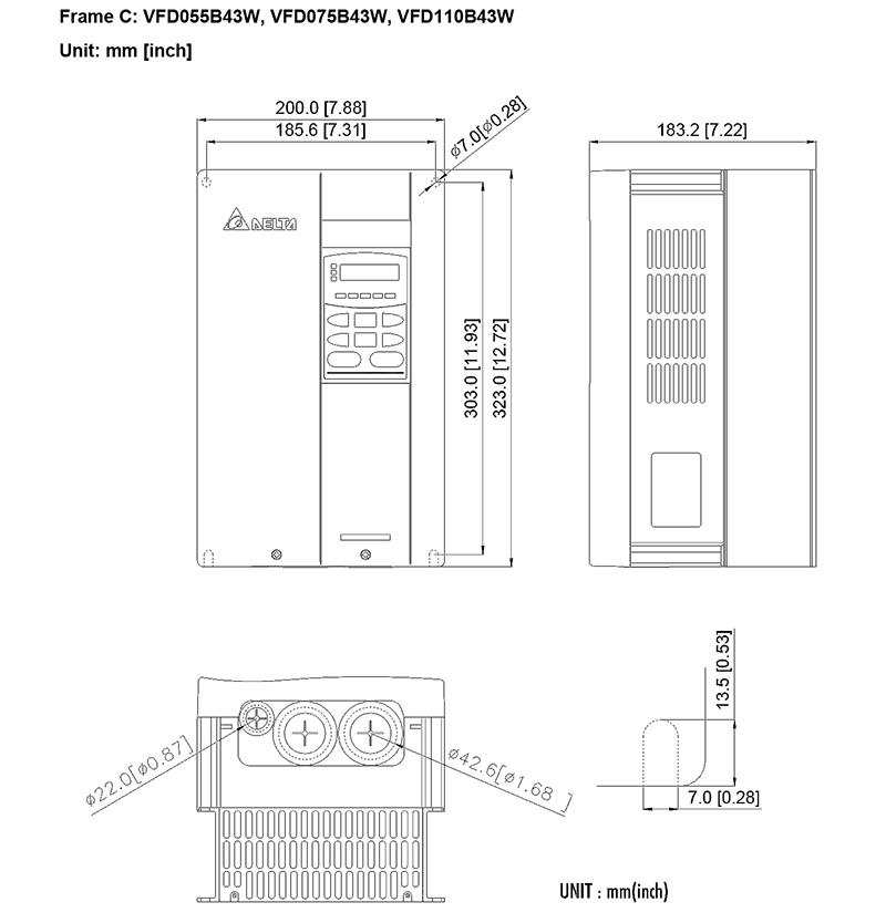台达/delta vfd075b43w变频器