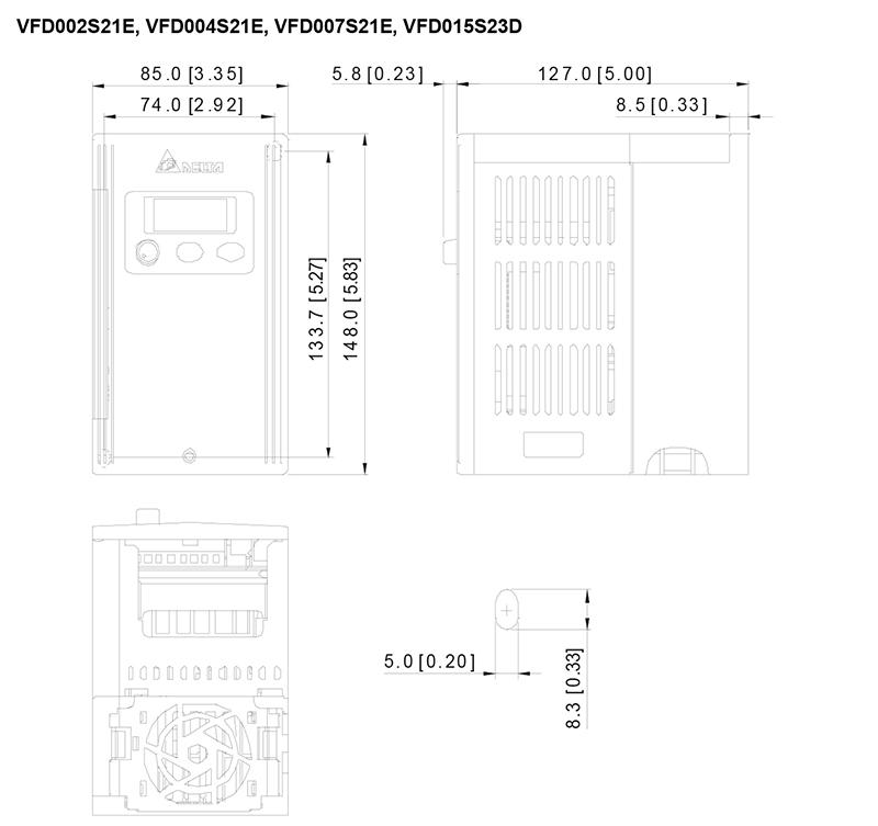 台达/delta vfd015s23d变频器