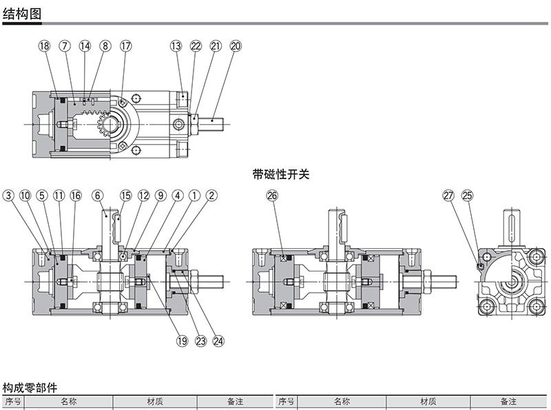 smc齿轮齿条式摆动气缸,缸径100mm,角度180°,接管rc3图片
