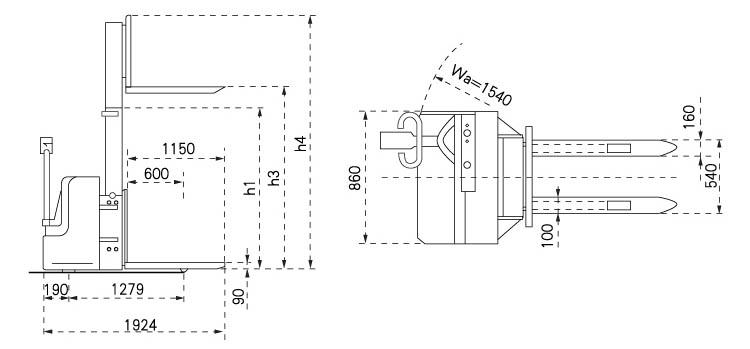 虎力 侧操作式全电动堆高车,1.2t,2.9m,货叉尺寸540*1150mm