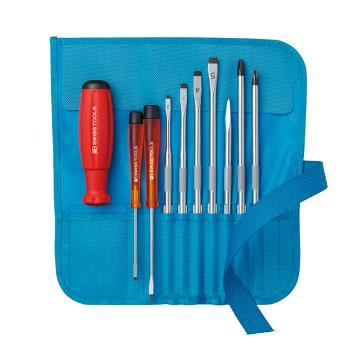 PB SWISS TOOLS 紧凑式卷袋包装、带可更换刀头的螺丝刀组件9件套和手柄 PB 8218.BO