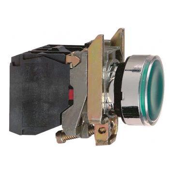 施耐德Schneider 带灯金属按钮,XB4BW33B5 绿色 平头 1NO+1NC 24V(ZB4BW0B35+ZB4BW333)
