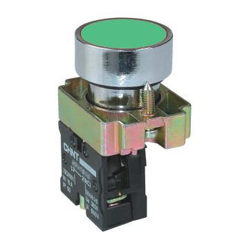 正泰 金属平钮,NP2-BA35 绿色 1常开1常闭