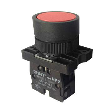 正泰 按钮开关,NP2-EA42 红色平钮 1常闭 塑料头
