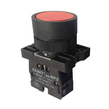 正泰 按钮开关,NP2-EA45 红色平钮 1常开1常闭 塑料头