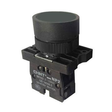 正泰 按钮开关,NP2-EA25 黑色平钮 1常开1常闭 塑料头