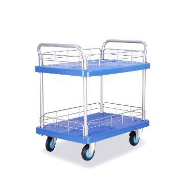 连和 全静轮双层双扶手带护栏手推车,铁支架轮 200KG,PLA200Y-T2-HL2-D