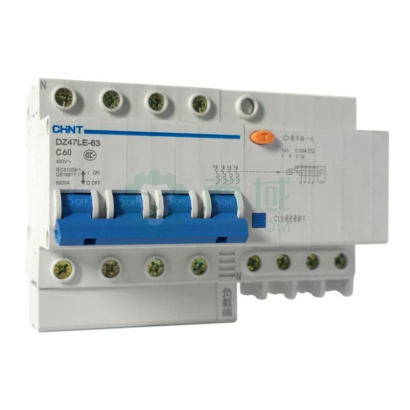 正泰 微型漏电保护断路器,dz47le-63 4p c50 30ma