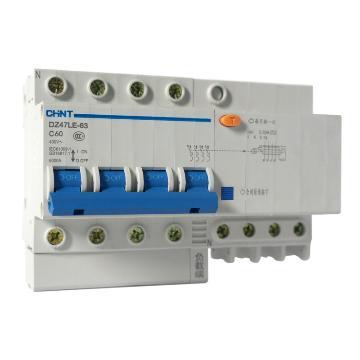 正泰 微型漏电保护断路器,DZ47LE-63 4P D60 30mA