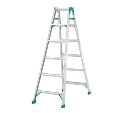 两用梯,(人字梯兼用直梯)(双侧宽幅踏步60mm)梯全长:2.96m 缩长:1.39m 重量:6.4kg