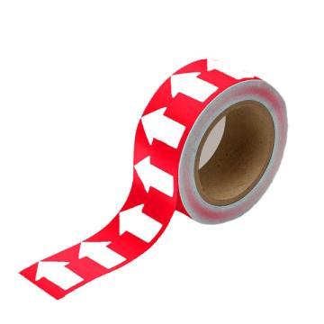 安赛瑞 管道流向箭头带-红,高性能自粘性材料,50mm宽×27m长,33507